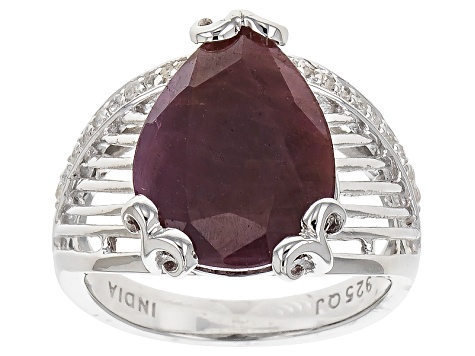 Pre-Owned Red Ruby Sterling Silver Ring 7.90ctw