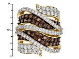 Pre-Owned Bronw And White Cubic Zirconia 18k Yellow Gold Over Silver Ring 5.35ctw (2.25ctw DEW)