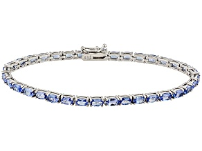 Pre-Owned Blue Tanzanite Sterling Silver Tennis Bracelet 7.70ctw