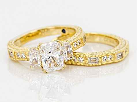 Pre-Owned White Cubic Zirconia 18k Yellow Gold Over Silver Ring With Band 4.26ctw