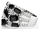 Pre-Owned Black Spinel Sterling Silver Ring 4.07ctw