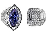 Pre-Owned Blue & White Cubic Zirconia Rhodium Over Sterling Silver Ring 3.39ctw