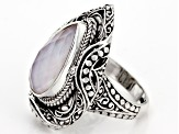 Pre-Owned Pink Opal Triplet Silver Ring