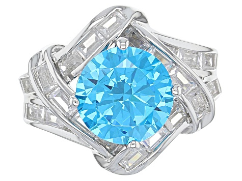 Pre-Owned Blue & White Cubic Zirconia Rhodium Over Sterling Silver Ring 8.96ctw
