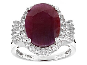 Pre-Owned Red indian Ruby Sterling Silver Ring 10.51ctw