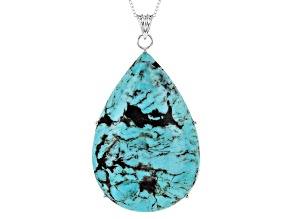 Pre-Owned Turquoise Sterling Silver Pendant With Chain