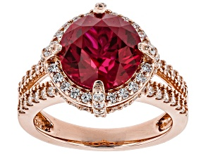Pre-Owned lab created ruby and white cubic zirconia 18k rose gold over silver ring