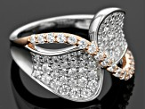 Pre-Owned White Cubic Zirconia Rhodium And 18k Rose Gold Over Sterling Silver Ring 2.33ctw