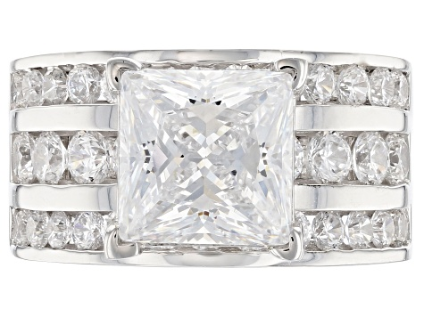 Pre-Owned White Cubic Zirconia Rhodium Over Sterling Silver Ring 10.38ctw