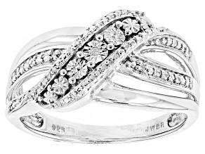 Pre-Owned Diamond Accent Rhodium Over Sterling Silver Ring .01ctw