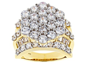 Pre-Owned White Cubic Zirconia 18K Yellow Gold Over Sterling Silver Ring 10.03ctw