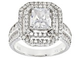 Pre-Owned White Cubic Zirconia Rhodium Over Sterling Silver Ring 4.73ctw