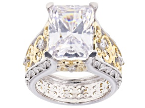 Pre-Owned White Cubic Zirconia Rhodium And 18k Yellow Gold Over Sterling Silver Ring 14.82ctw