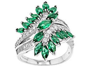 Pre-Owned Green and White Cubic Zirconia Rhodium Over Sterling Silver Ring 4.82ctw
