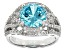 Pre-Owned Blue And White Cubic Zirconia Rhodium Over Sterling Silver Ring 7.76ctw