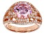 Pre-Owned Pink And White Cubic Ziconia 18k Rose Gold Over Sterling Silver Ring 7.76ctw