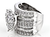 Pre-Owned White Cubic Zirconia Rhodium Over Sterling Silver Heart Ring 8.25ctw