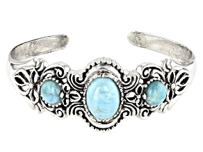 Pre-Owned Larimar Oval And Round Sterling Silver 3 Stone Cuff Bracelet