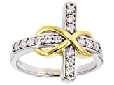 Pre-Owned Cubic Zirconia Silver And 18k Yellow Gold Over Silver Cross Ring .70ctw (.37ctw DEW)