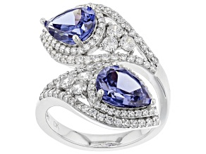 Pre-Owned Blue & White Cubic Zirconia Rhodium Over Sterling Silver Bypass Ring 7.68ctw