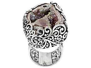 Pre-Owned Multicolor Fossilized Drusy Quartz Shell Silver Ring