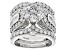 Pre-Owned White Cubic Zirconia Rhodium Over Sterling Silver Ring With Guard 5.90ctw