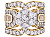 Pre-Owned White Cubic Zirconia 18K Yellow Gold Over Sterling Silver Ring With Guard 5.90ctw
