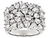 Pre-Owned White Cubic Zirconia Rhodium Over Sterling Silver Ring 7.30ctw