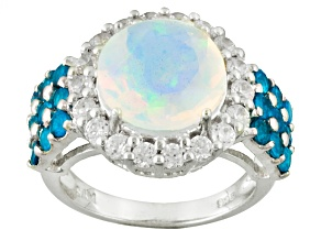 Pre-Owned Neon Apatite Sterling Silver Ring 3.36ctw