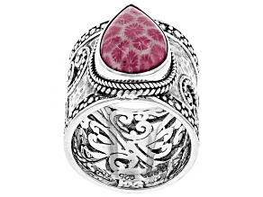 Pre-Owned Pink Indonesian Coral Silver Ring