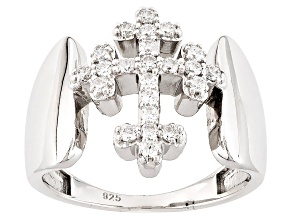 Pre-Owned Cubic Zirconia Silver Cross Ring .65ctw (.34ctw DEW)