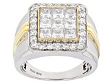Pre-Owned White Cubic Zirconia Rhodium Over Silver And 18k Yellow Gold Over Silver Gents Ring 4.25ct
