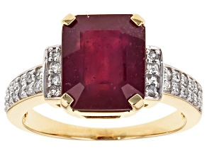 Pre-Owned Mahaleo Ruby 10k Yellow Gold Ring 6.32ctw