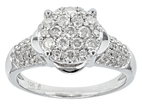 Pre-Owned White Diamond Ring 10k White Gold .68ctw