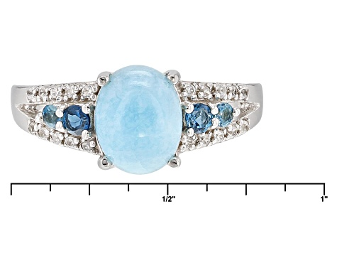 Pre-Owned Blue Hemimorphite Sterling Silver Ring 2.23ctw