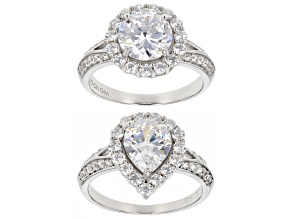 Pre-Owned White Cubic Zirconia Rhodium Over Sterling Silver Rings 8.85ctw