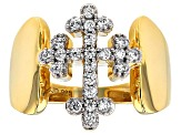 Pre-Owned White Cubic Zirconia 18k Yellow Gold Over Sterling Silver Ring 0.65ctw