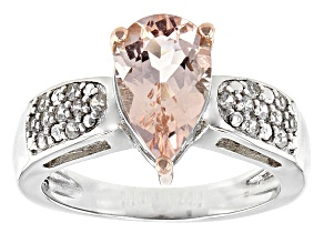Pre-Owned Pink Morganite Sterling Silver Two Tone Ring 1.19ctw