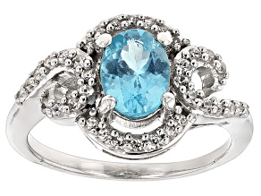 Pre-Owned Paraiba Blue Color Apatite Sterling Silver Ring 1.37ctw