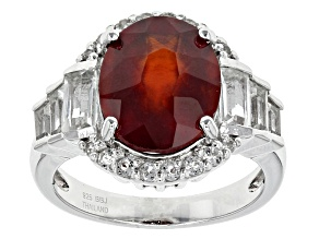 Pre-Owned Red Hessonite Garnet Sterling Silver Ring 4.86ctw