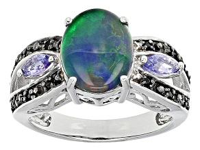 Pre-Owned Multicolor Australian Opal Triplet Sterling Silver Ring .31ctw