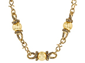 Pre-Owned Champange Crystal Golden Pearl Simulant Gold Tone Necklace