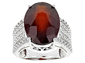 Pre-Owned Red Hessonite Garnet Sterling Silver Solitaire Ring 12.50ct