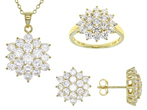 Pre-Owned white cubic zirconia 18k yellow gold over sterling silver jewelry set 8.64ctw