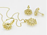 Pre-Owned white cubic zirconia 18k yg over sterling silver jewelry set 8.64ctw