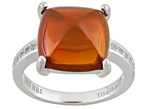 Pre-Owned Orange Oregon Fire Opal Sterling Silver Ring .28ctw