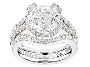 Pre-Owned White Cubic Zirconia Rhodium Over Sterling Silver Jeweled Prongs Ring With Guard 7.80ctw