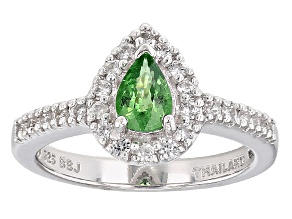 Pre-Owned Mint Green Tsavorite Sterling Silver Ring .90ctw