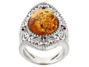 Pre-Owned Orange Amber Sterling Silver Ring .17ctw