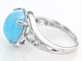 Pre-Owned Blue Peruvian Hemimorphite Sterling Silver Ring .49ctw